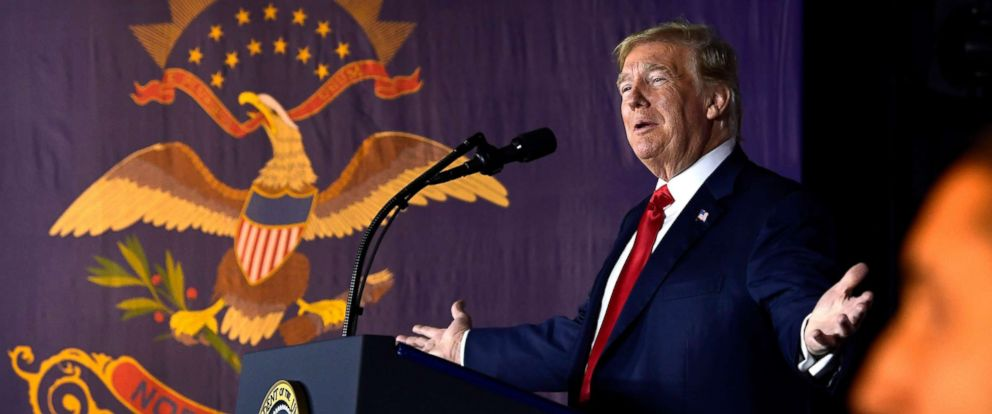 PHOTO: President Donald Trump speaks at a fundraiser in Fargo, Sept. 7, 2018.