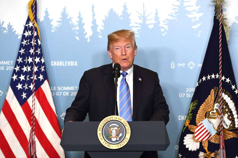 PHOTO: President Donald Trump speaks to reporters, June 9, 2018, during the G7 Summit in La Malbaie, Quebec, Canada.