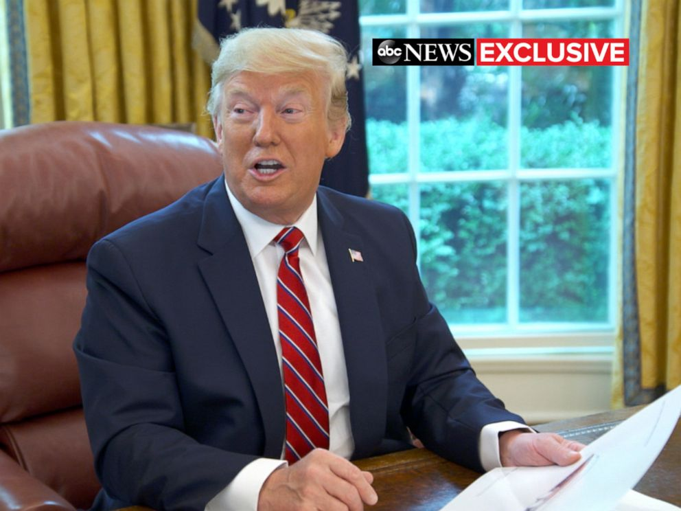 PHOTO: ABC News George Stephanopoulos talks with President Donald Trump in the Oval Office of the White House.