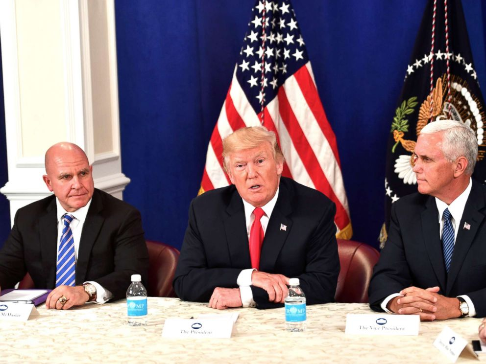 PHOTO: President Donald Trump, with National Security Advisor H. R. McMaster (L) and Vice President Mike Pence, speaks during a security briefing on Aug. 10, 2017, at his Bedminster National Golf Club in New Jersey.