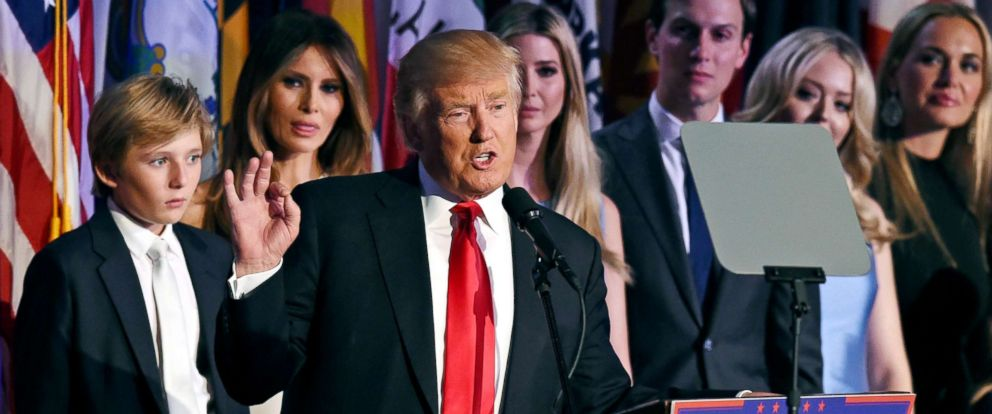 PHOTO: President-elect Donald Trump arrives on stage with his family to speak to supporters on election night in New York, Nov. 9, 2016.