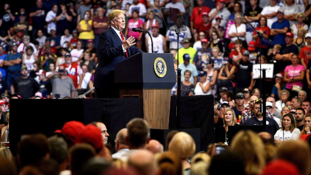 President Donald Trump speaks during a rally for Rep. Kevin Cramer on June 27, 2018, in Fargo, N.D.