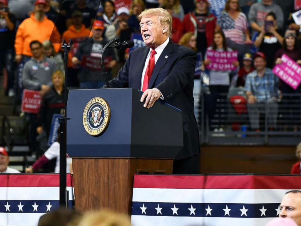 PHOTO: President Donald Trump speaks during a rally in Council Bluffs, Iowa, Oct. 9, 2018.