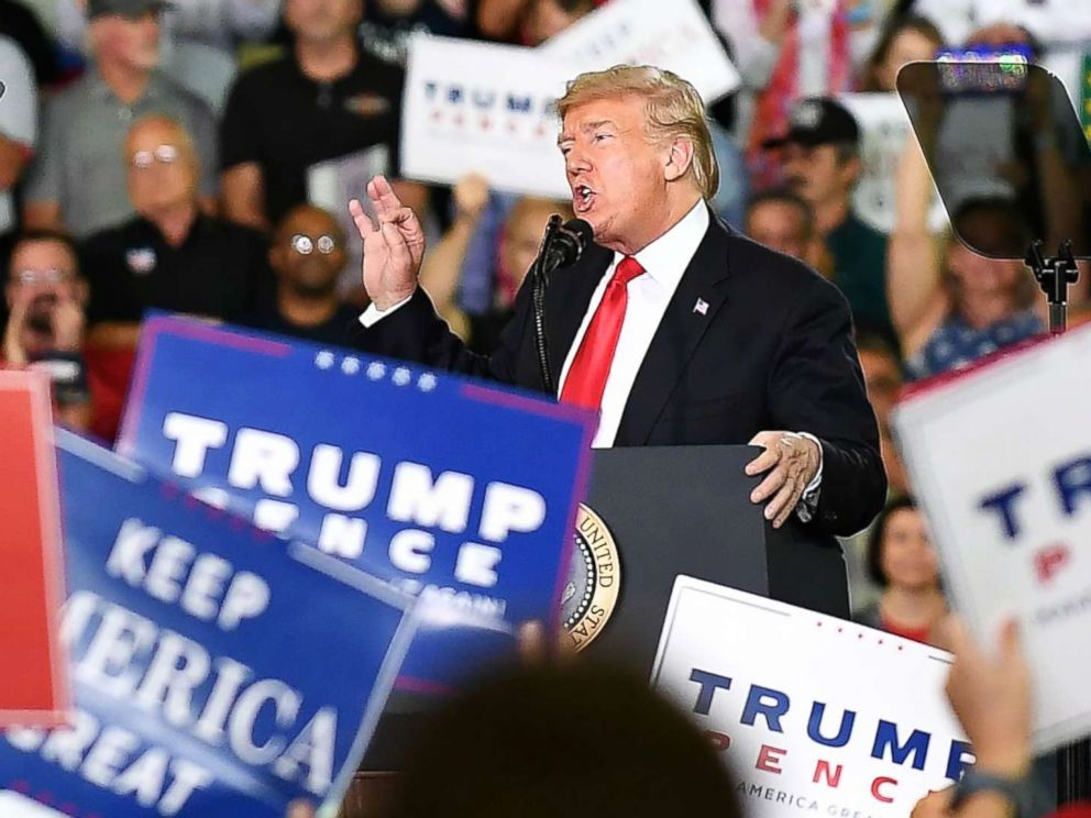 PHOTO: Donald Trump speaks during a Make America Great Again rally on Oct. 10, 2018, in Erie, Pa.