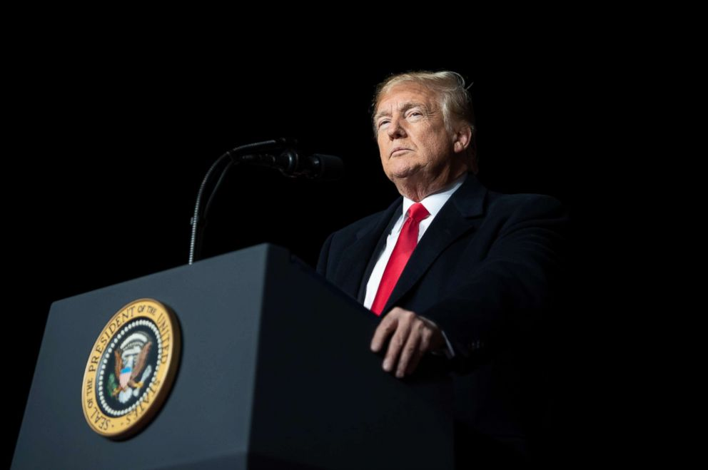 President Donald Trump speaks during a campaign rally at Central Wisconsin Airport in Mosinee, Wis., Oct. 24, 2018.