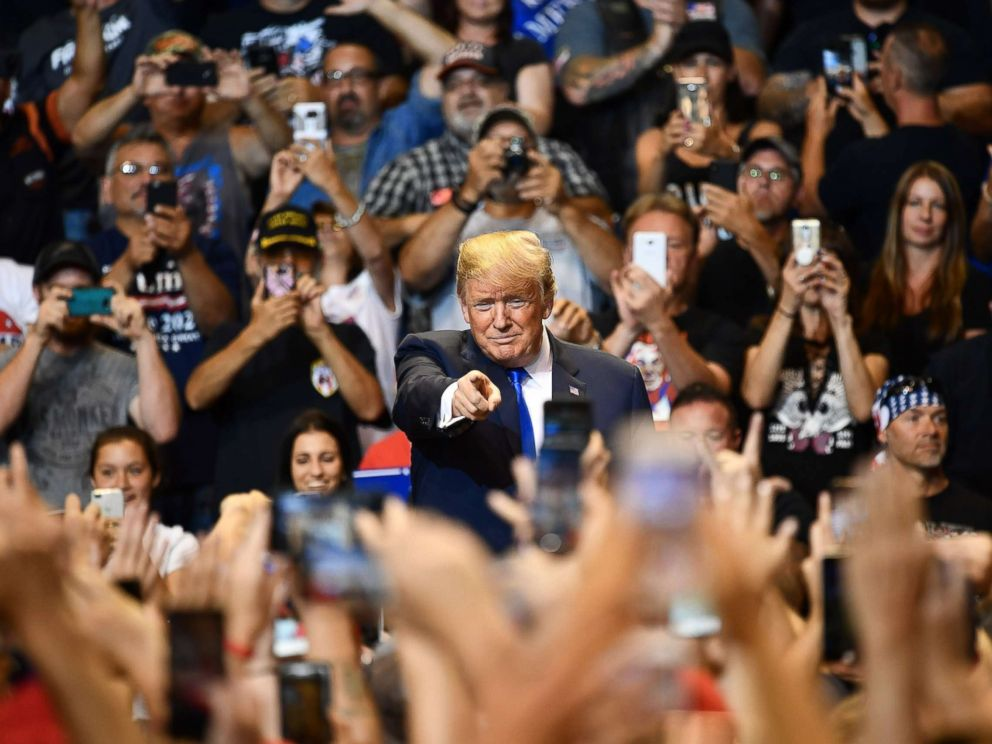 PHOTO: President Donald Trump speaks at a political rally at Mohegan Sun Arena in Wilkes-Barre, Pa., Aug. 2, 2018.