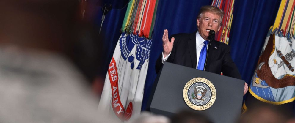 PHOTO: President Donald Trump speaks during his address to the nation from Joint Base Myer-Henderson Hall in Arlington, Va., on Aug. 21, 2017.