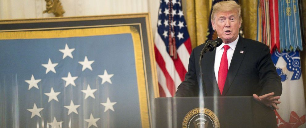 PHOTO: President Donald Trump speaks during the Congressional Medal of Honor Society reception in the East Room of the White House in Washington, D.C., U.S., Sept. 12, 2018.