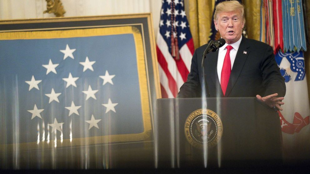 President Donald Trump speaks during the Congressional Medal of Honor Society reception in the East Room of the White House in Washington, D.C., U.S., Sept. 12, 2018.