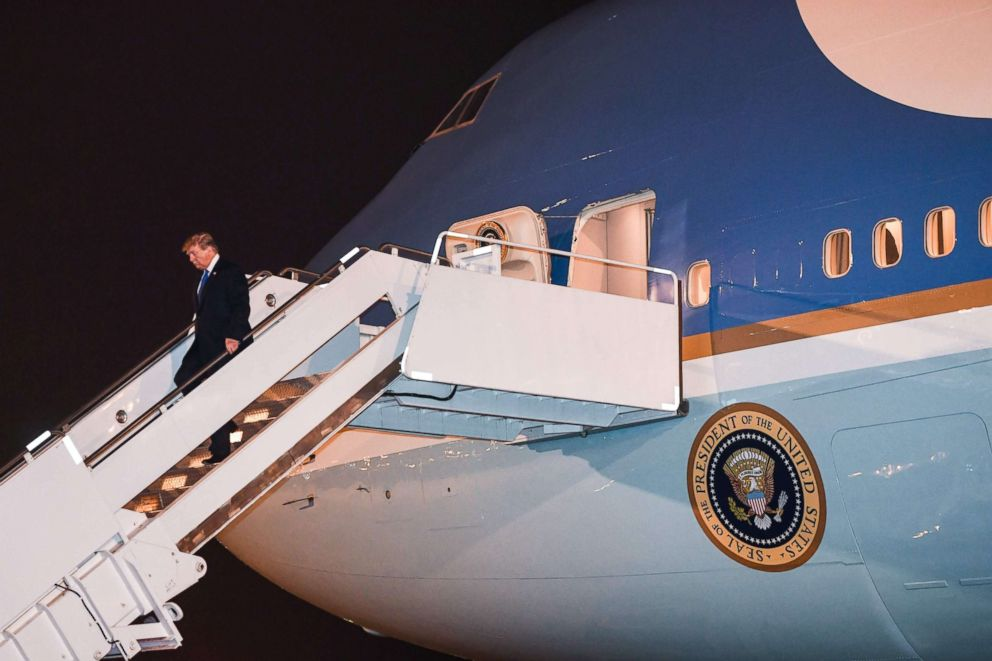 PHOTO: President Donald Trump disembarks from Air Force One at Noi Bai International Airport in Hanoi on Feb. 26, 2019.
