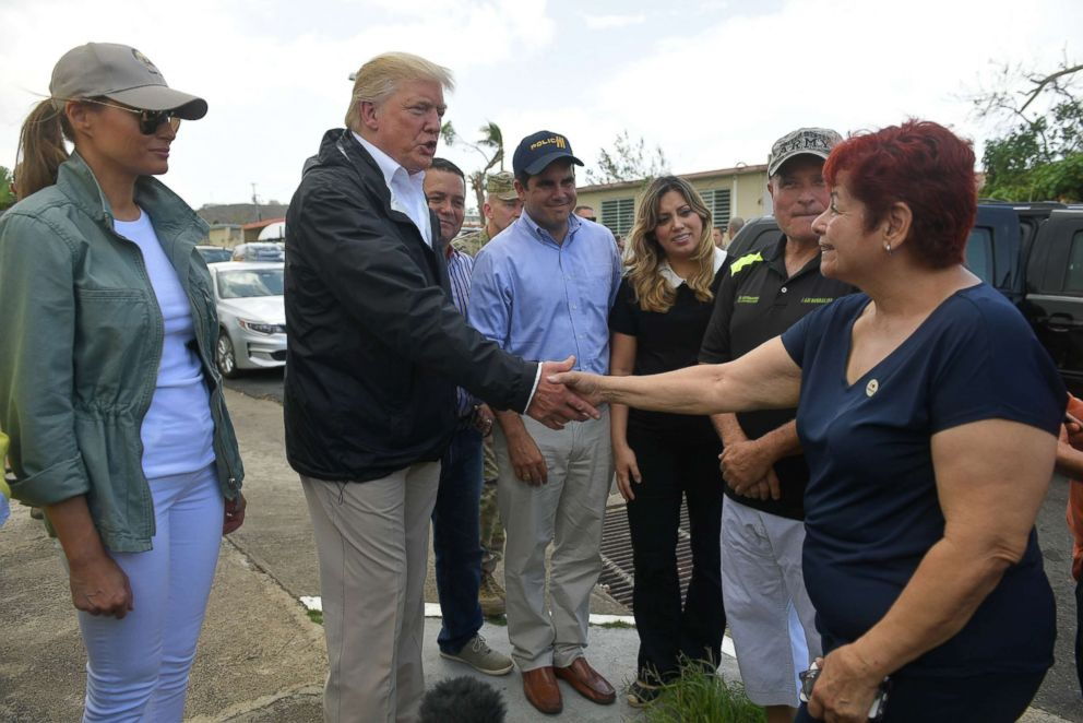 PHOTO: President Donald Trump and first lady Melania Trump visit residents affected by Hurricane in Guaynabo, Puerto Rico, Oct. 3, 2017.