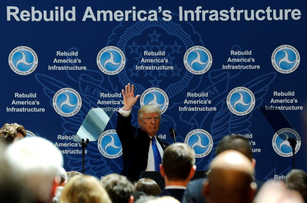 PHOTO: President Donald Trump concludes his remarks on infrastructure improvements, at the Department of Transportation in Washington, D.C. June 9, 2017.