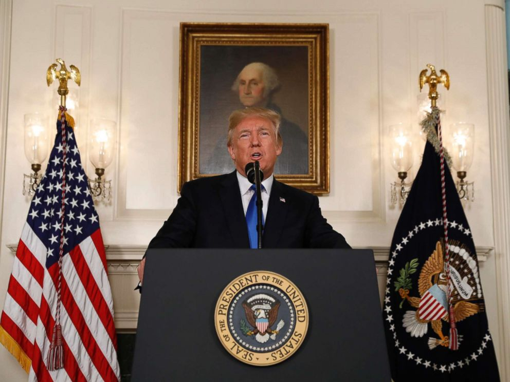 PHOTO: President Donald Trump speaks about the Iran nuclear deal in the Diplomatic Room of the White House in Washington, D.C., Oct. 13, 2017.