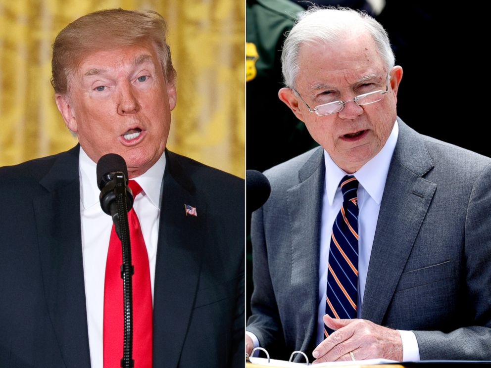 PHOTO: President Donald Trump speaks during a meeting of the National Space Council in the White House, June 18, 2018, and Attorney General Jeff Sessions speaks near the border with Tijuana, Mexico, May 7, 2018, in San Diego.