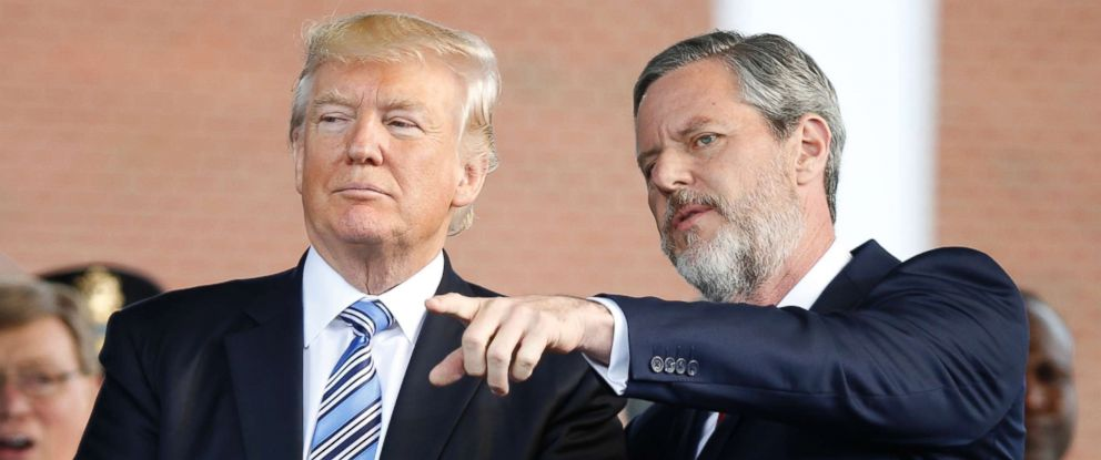 PHOTO: President Donald Trump stands with Liberty University President Jerry Falwell Jr. in Lynchburg, Va., May 13, 2017.