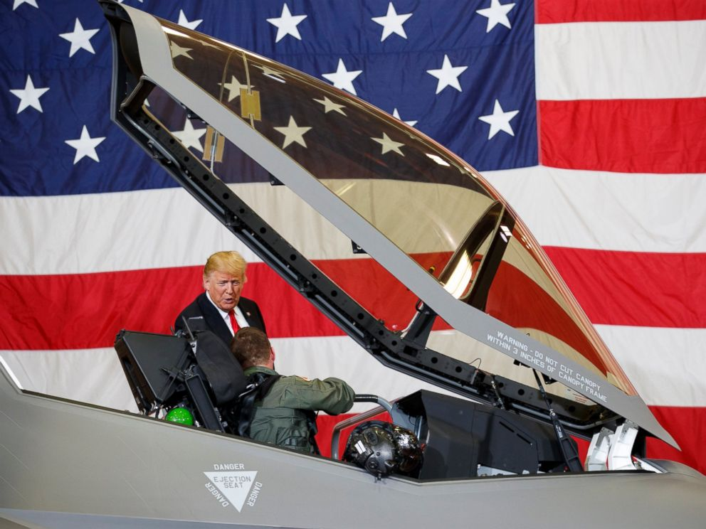 PHOTO: President Donald Trump talks to a pilot in the cockpit of an F-35 aircraft during a Defense Capability Tour at Luke Air Force Base, Ariz., Friday, Oct. 19, 2018.