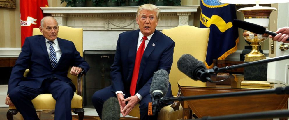 PHOTO: President Donald Trump speaks to journalists after John Kelly was sworn in as White House Chief of Staff in the Oval Office of the White House in Washington, July 31, 2017.