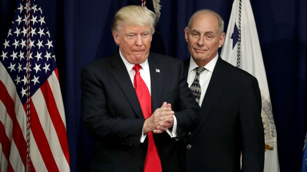 President Donald Trump is joined by Homeland Security Secretary John Kelly (R) during a visit to the Department of Homeland Security, Jan. 25, 2017 in Washington, D.C.