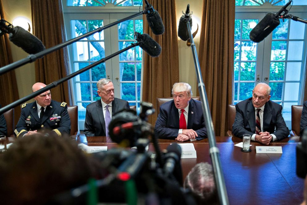 PHOTO: President Donald Trump, national security advisor H.R. McMaster, White House chief of staff John Kelly and Defense Secretary Jim Mattis attend a briefing in the Cabinet Room of the White House, Oct. 5, 2017, in Washington, D.C.