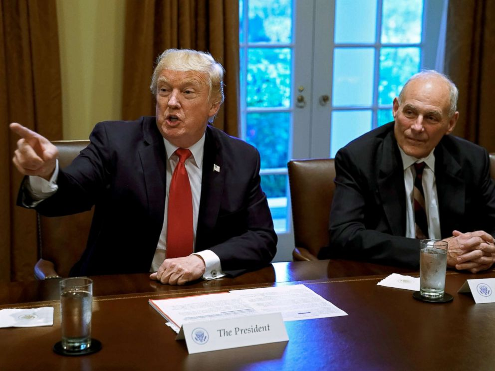 PHOTO: President Donald Trump gestures next to White House Chief of Staff John Kelly during a briefing with senior military leaders at the White House in Washington, D.C., Oct. 5, 2017.