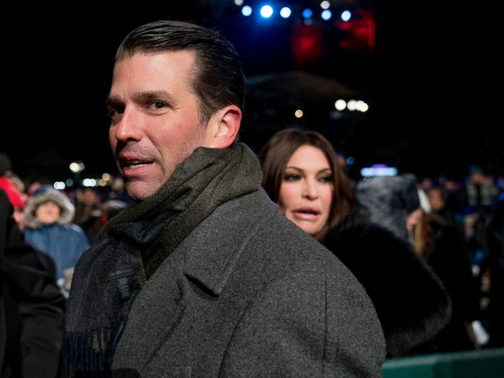 PHOTO: In this Nov. 28, 2018, file photo, Donald Trump Jr., center, and Kimberly Guilfoyle, right, depart following the National Christmas Tree lighting ceremony at the Ellipse near the White House in Washington.