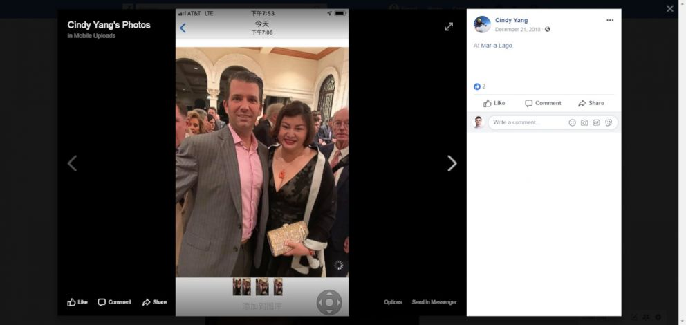 PHOTO: A photo posted on Facebook shows Cindy Yang with President Donald Trumps son, Donald Trump Jr.