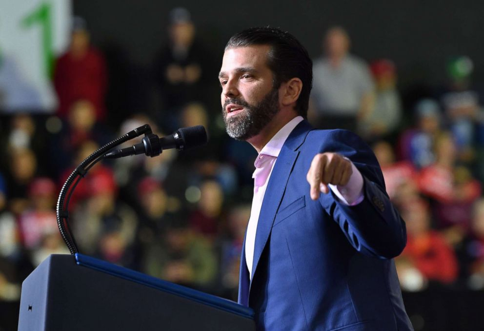 PHOTO: Donald Trump Jr. speaks during a rally before President Donald Trump addresses the audience in El Paso, Texas, Feb. 11, 2019.