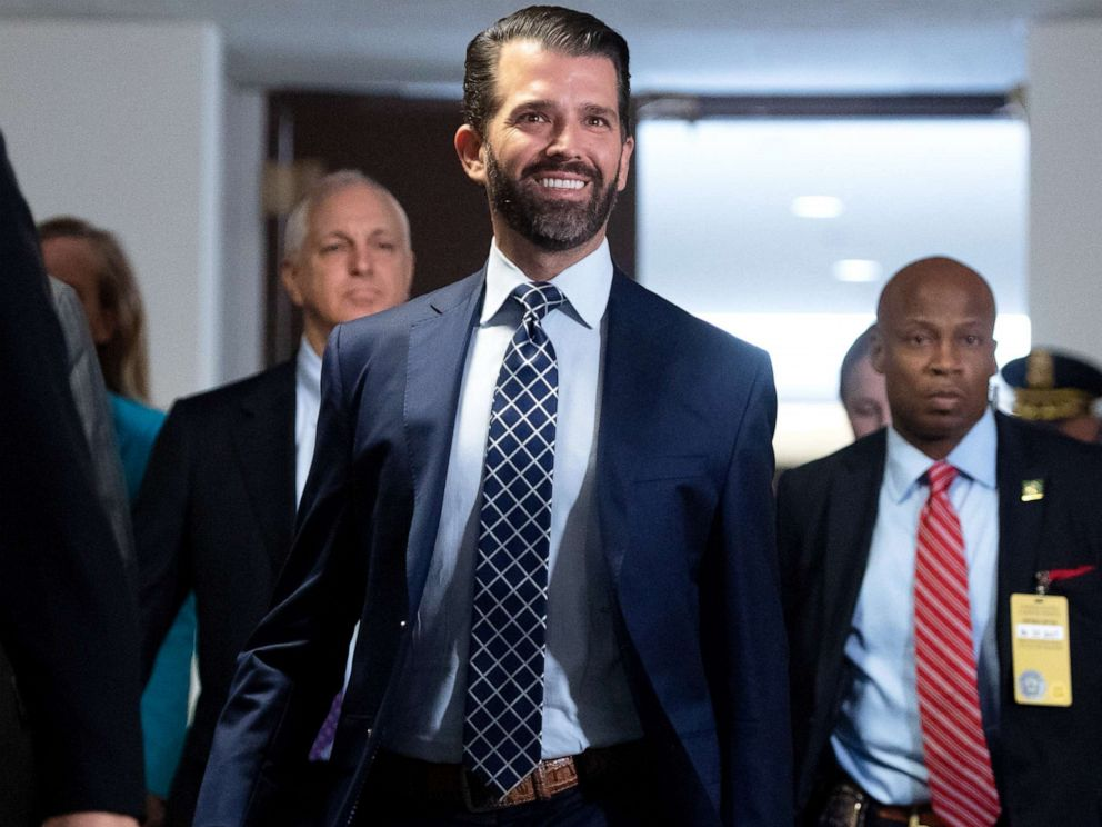 PHOTO:Donald Trump, Jr., arrives to testify before the U.S. Senate Select Committee on Intelligence on Capitol Hill in Washington, D.C., June 12, 2019.