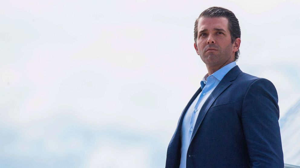 Donald Trump Jr., walks off Air Force One in Great Falls, Montana, on July 5, 2018.
