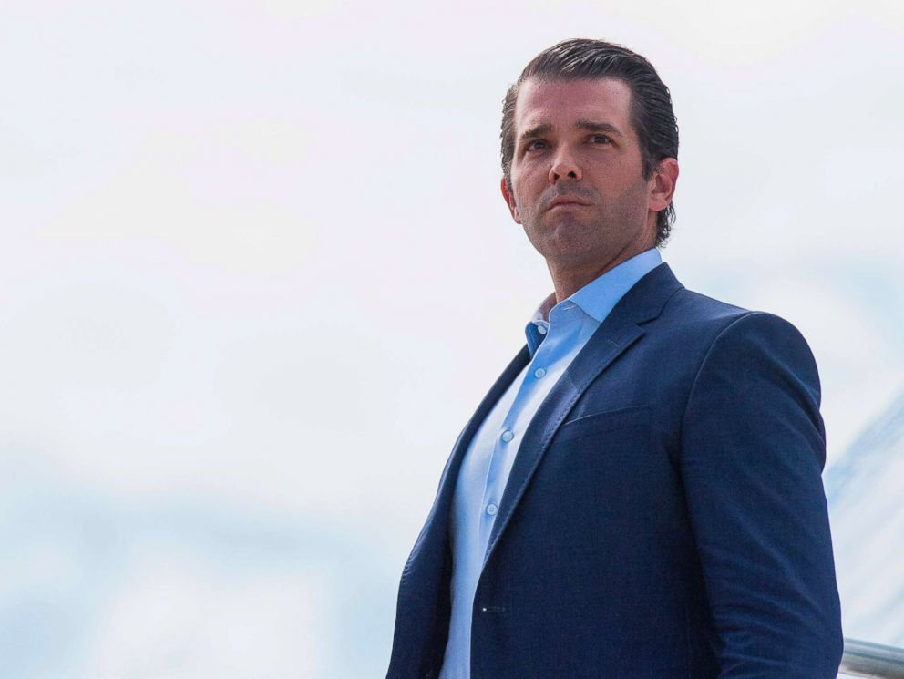 PHOTO: Donald Trump Jr., walks off Air Force One in Great Falls, Montana, on July 5, 2018.