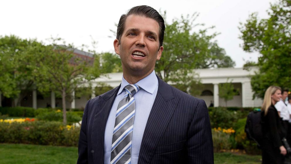 Donald Trump Jr., the son of President Donald Trump, speaks to media on the South Lawn of the White House in Washington, April 17, 2017.