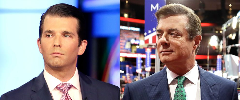 PHOTO: Donald Trump Jr. in New York City, July 11, 2017. | Paul Manafort in Cleveland, July 17, 2016.