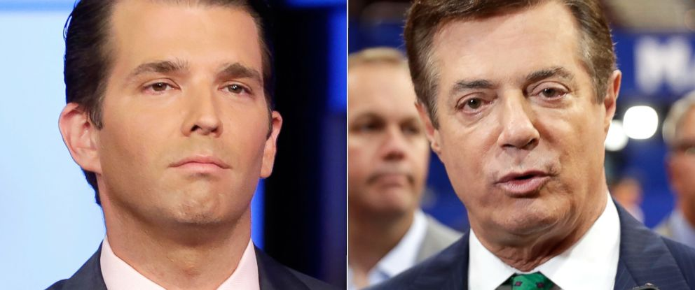 PHOTO: Donald Trump Jr. in New York, July 11, 2017. | Paul Manafort in Cleveland, July 17, 2016.