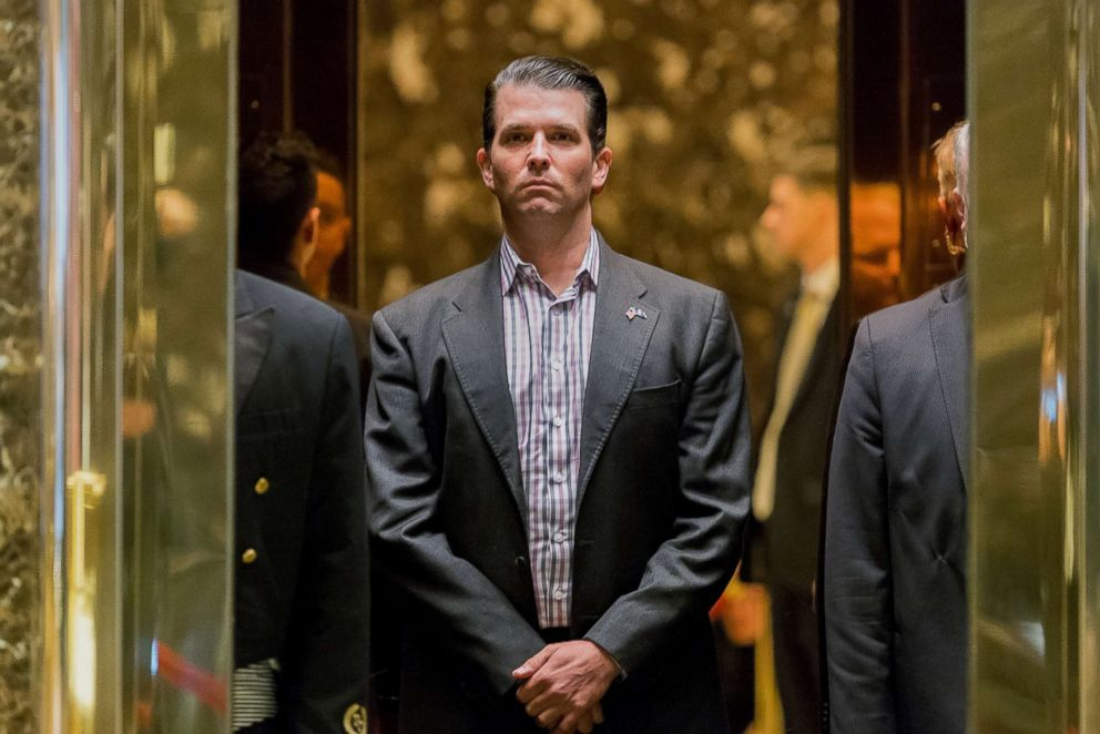 PHOTO: In this Jan. 18, 2017 file photo Donald Trump Jr., stands in an elevator at Trump Tower in New York.