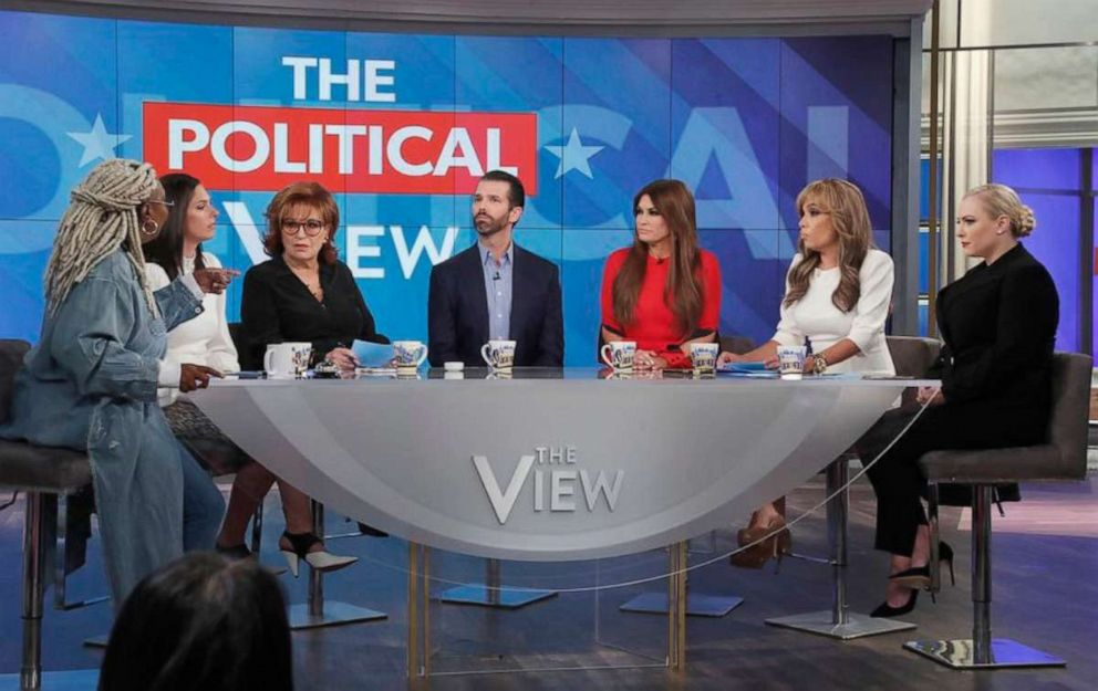 PHOTO: Donald Trump Jr. and Kimberly Guilfoyle appear on ABCs, The View, Nov. 7, 2019.
