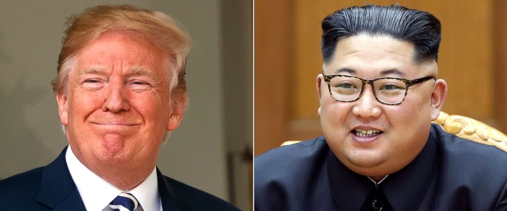PHOTO: President Donald Trump in Washington, June 6, 2018. | North Korean leader Kim Jong Un in North Korea, May 26, 2018.