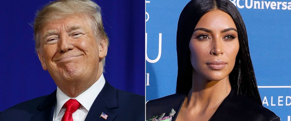 PHOTO: Pictured (L-R) are President Donald Trump in Moon Township, Pa., March 10, 2018 and Kim Kardashian West in New York City, May 15, 2017.