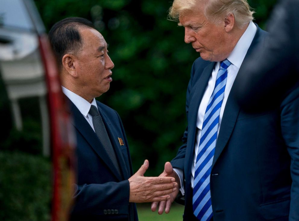 PHOTO: President Donald Trump shakes hands with Kim Yong Chol, former North Korean military intelligence chief and one of leader Kim Jong Uns closest aides, as after their meeting in the Oval Office of the White House in Washington, June 1, 2018.