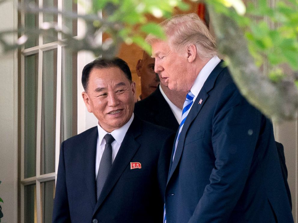 PHOTO: President Donald Trump talks with Kim Yong Chol, former North Korean military intelligence chief and one of leader Kim Jong Uns closest aides, as they walk from their meeting in the Oval Office of the White House in Washington, June 1, 2018.