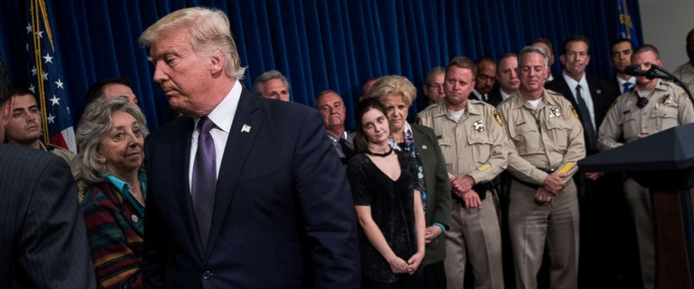 PHOTO: President Donald Trump exits after speaking in a room full of police officers and family members at Las Vegas Metropolitan Police Department headquarters, Oct. 4, 2017 in Las Vegas.