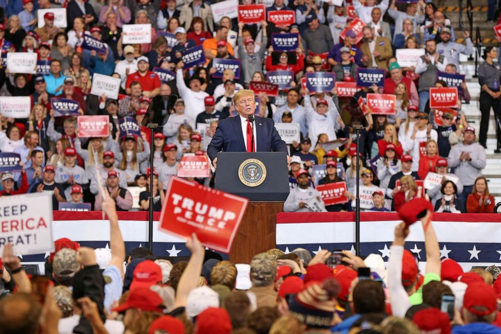 PHOTO: President Donald Trump speaks during a rally at CenturyLink Center on Nov. 14, 2019, in Bossier City, La.