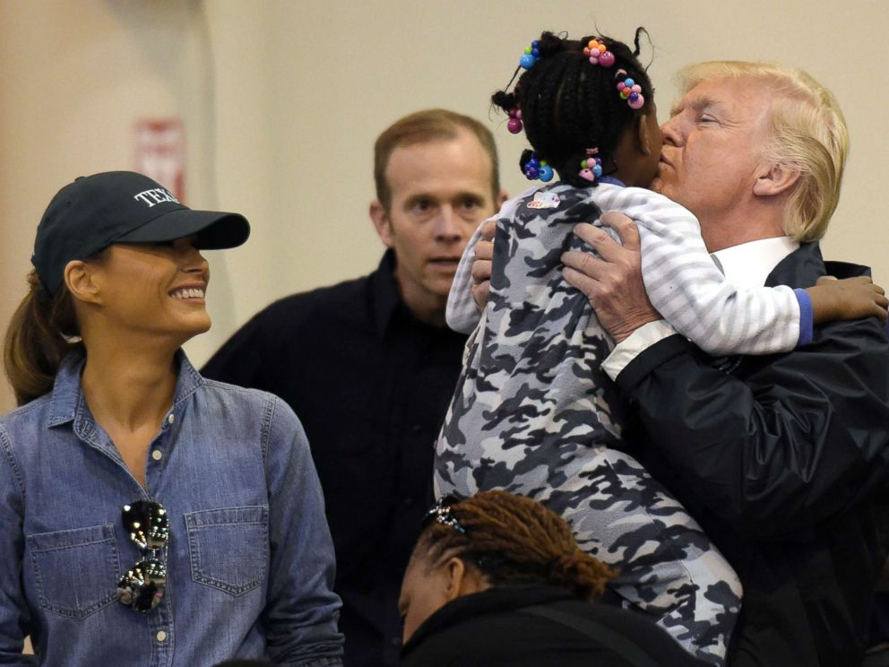 PHOTO: President Donald Trump and Melania Trump meet people impacted by Hurricane Harvey during a visit to the NRG Center in Houston, Sept. 2, 2017.
