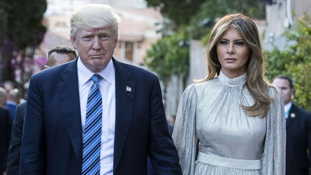 President Donald Trump and first lady Melania Trump arrive at the Greek Theater to attend a concert, on the sideline of the G7 Summit in Taormina, Sicily island, Italy, May 26, 2017.