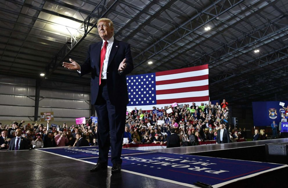 President Donald Trump speaks during a rally at Total Sports Park in Washington, Michigan, April 28, 2018.
