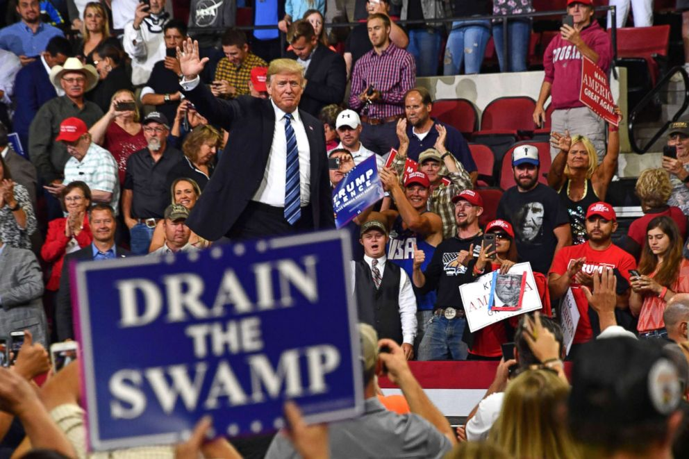 PHOTO: President Donald Trump waves to the crowd during a Make America Great Again rally in Billings, Mont., Sept. 6, 2018.