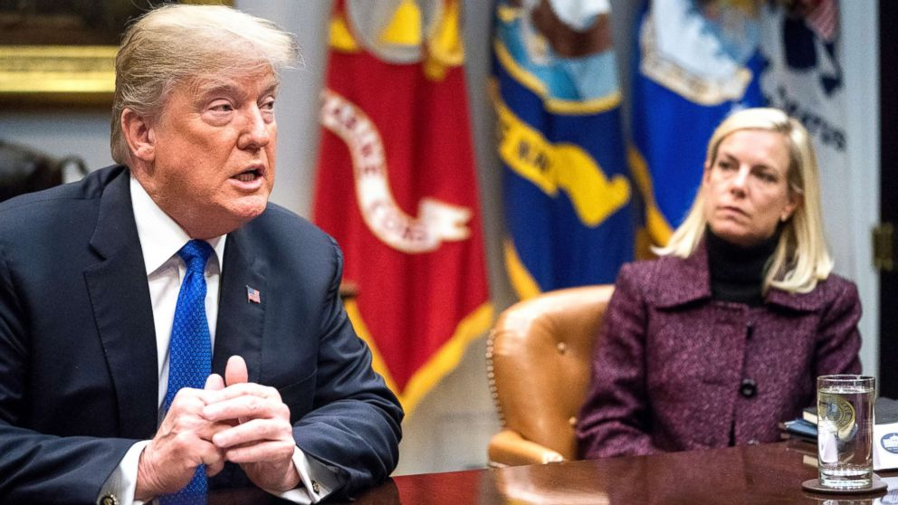 President Donald Trump, accompanied by Secretary of Homeland Security Kirstjen Nielsen, speaks during a meeting with Republican Senators on immigration in the Roosevelt Room at the White House, Jan. 4, 2018.