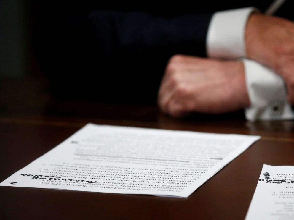 PHOTO: President Donald Trumps prepared remarks show his own handwritten note There was no collusion at the start of a meeting with members of the U.S. Congress at the White House in Washington, July 17, 2018.