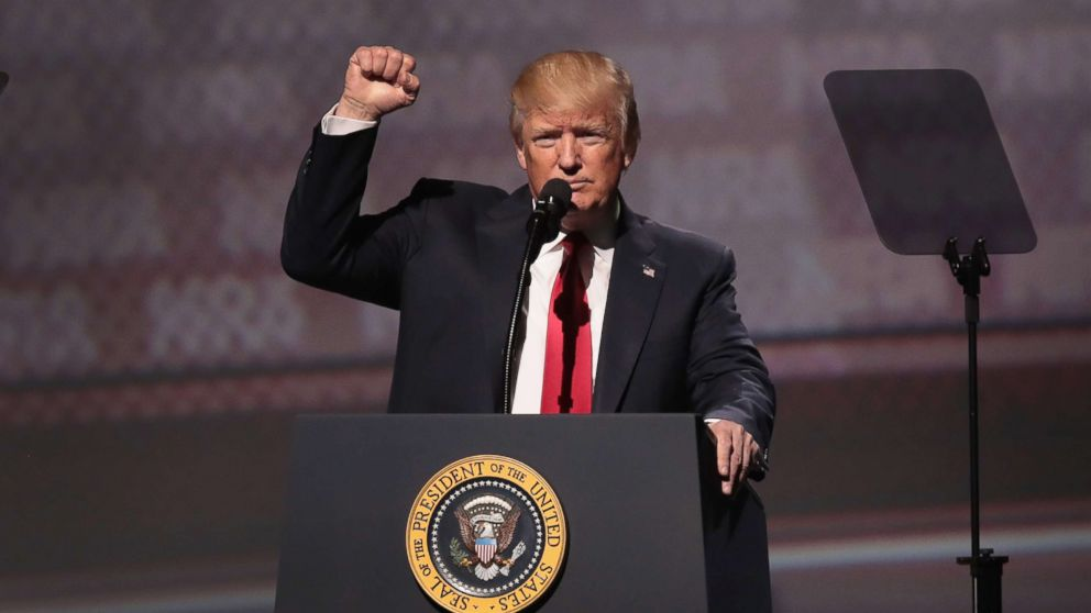 President Donald Trump speaks at the NRA-ILA's Leadership Forum at the 146th NRA Annual Meetings & Exhibits, April 28, 2017 in Atlanta.