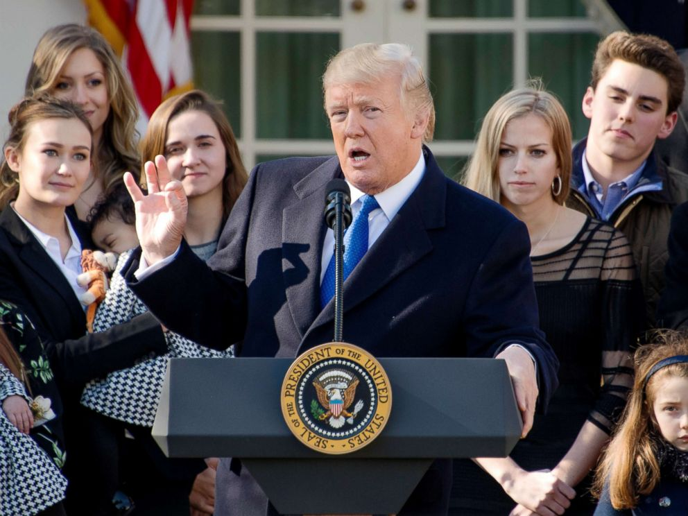 PHOTO: President Donald J. Trump addresses March for Life Participants and anti-abortion rights advocates from the Rose Garden of the White House, Jan. 19, 2018.
