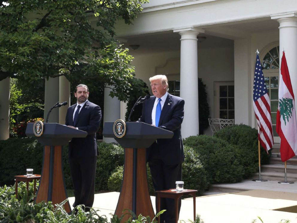 PHOTO: President Donald Trump holds a news conference with Prime Minister of Lebanon Saad Hariri, in the Rose Garden at the White House on July 25, 2017 in Washington.